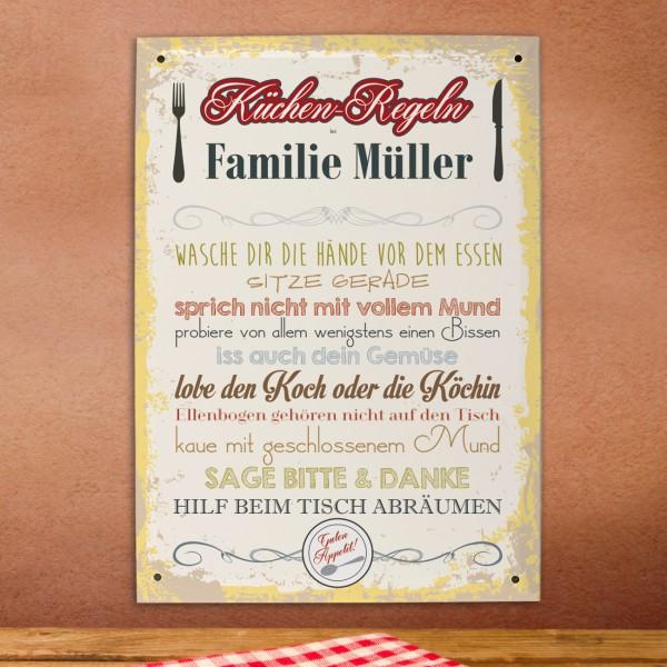 persönliches Blechschild mit Küchenregeln und Ihrem Namen