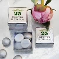 6 silberne Schachteln für Gastgeschenke zur Silbernen Hochzeit