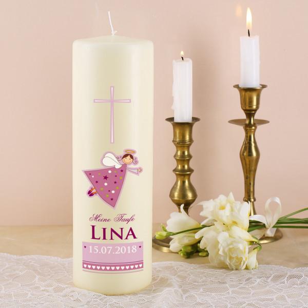 Taufkerze in rosa mit Schutzengel, Name und Datum