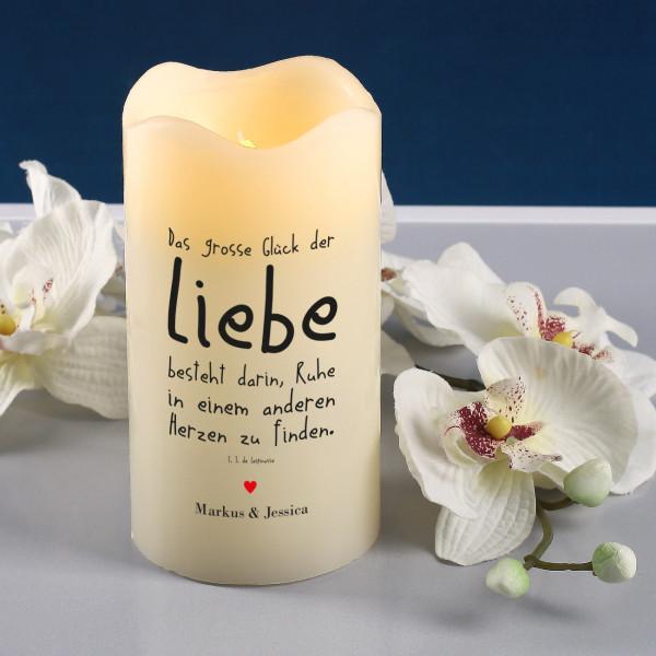 Partybedarfpartydeko - LED Echtwachskerze mit Liebesspruch und Ihrem Wunschtext - Onlineshop Geschenke online.de