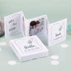 Mini Fotobuch für Jungen mit 3 Bildern, Geburtsangaben und Geschenkbox