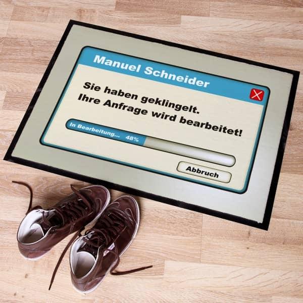 personalisierte Fußmatte Ihre Anfrage wird bearbeitet!