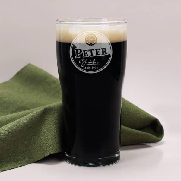 Graviertes Pint-Bierglas für Genießer mit Wunschname