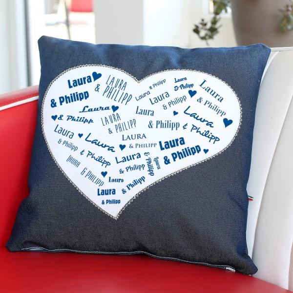 Jeans Herz Kissen Namen des Paares