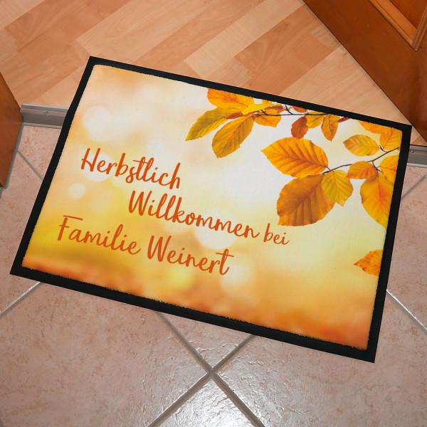 Fußmatte Herbstlich Willkommen mit Ihrem Wunschtext