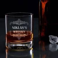 Whiskyglas mit Ornamentrahmen und Gravur ihres Wunschnamens