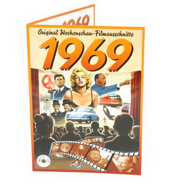 Geburtstagskarte 1969 mit original Wochenschau - Filmausschnitt
