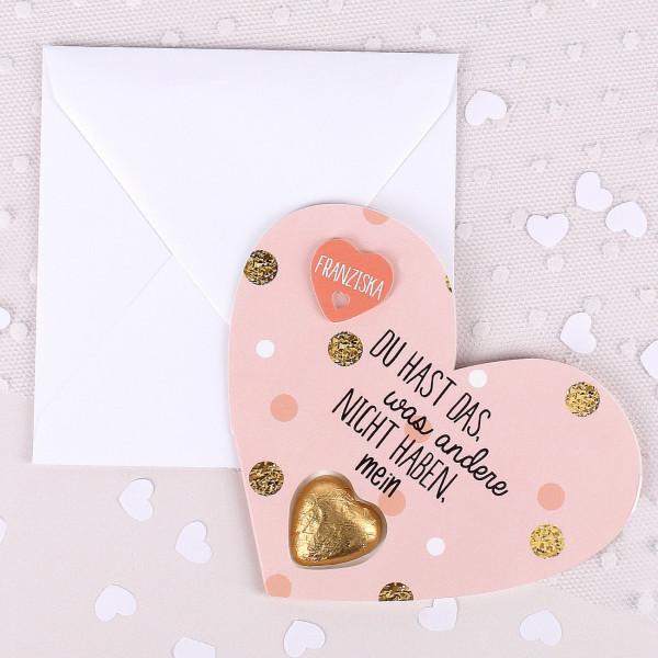 rosane Karte mit Spruch und Lindt Herz