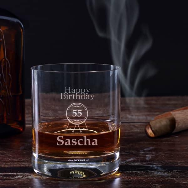 Stilvolles Whiskyglas zum Geburtstag mit Name und Alter