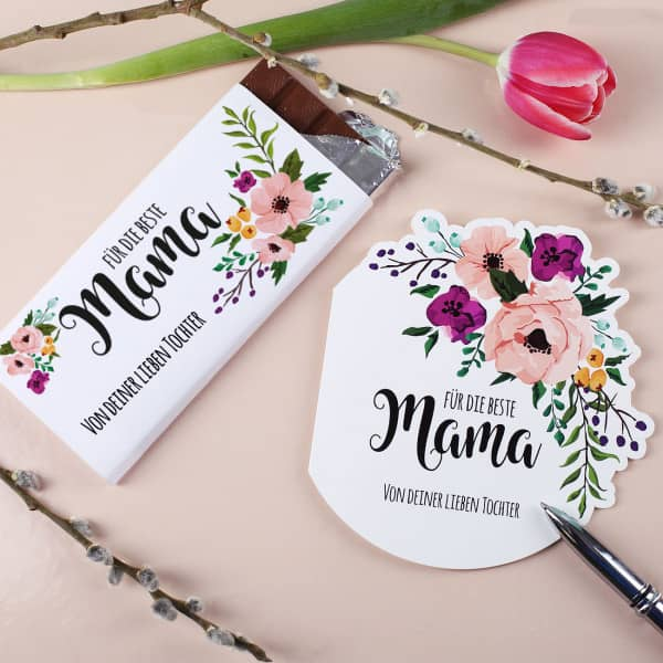 Klappkarte und Schokolade zum Muttertag
