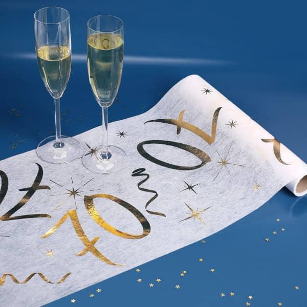 Tischläufer zum 70. Geburtstag in weiß und gold