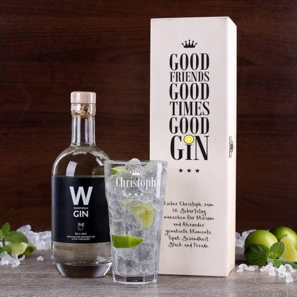 Gin Geschenkset mit graviertem Glas