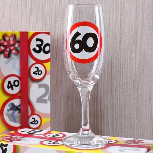 Sektglas zum 60. Geburtstag - Verkehrsschild
