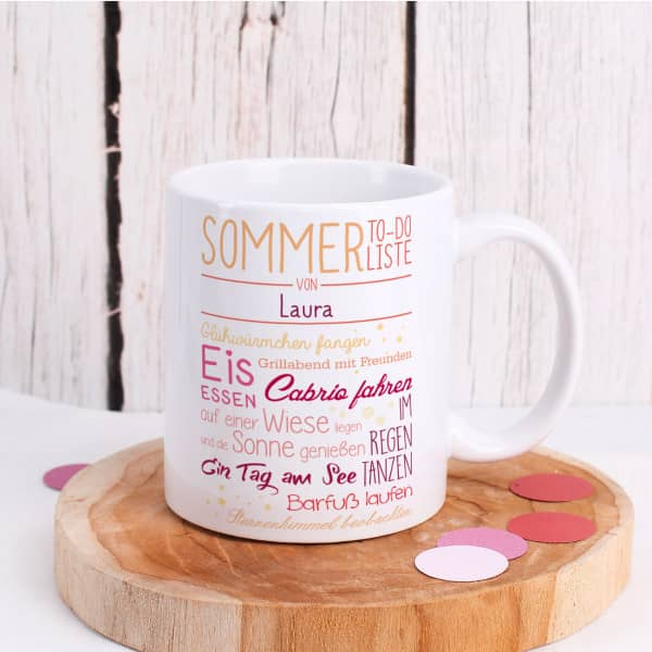 Individuellküchenzubehör - Tasse Sommer To do Liste bedruckt mit Name - Onlineshop Geschenke online.de