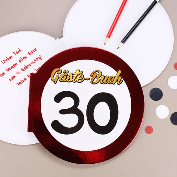 Gäste-Buch Verkehrsschild 30