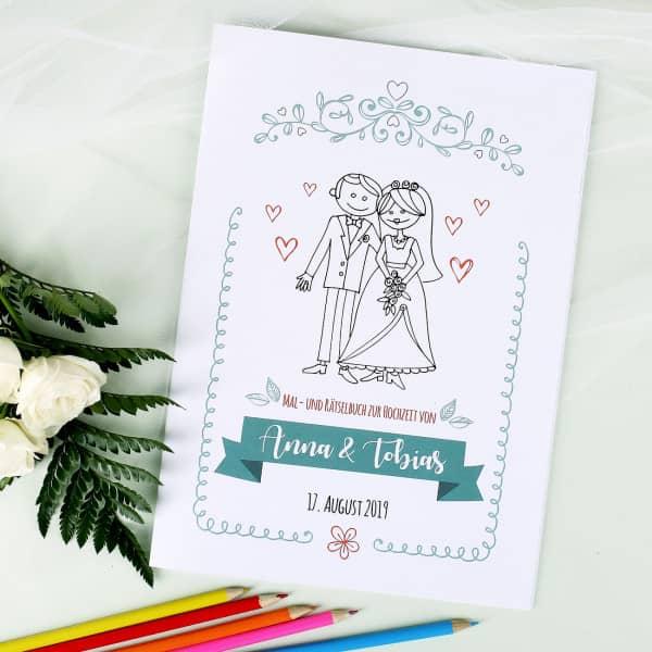 Hochzeitsmalbuch mit Namen und Datum, für kleine Gäste, Cover