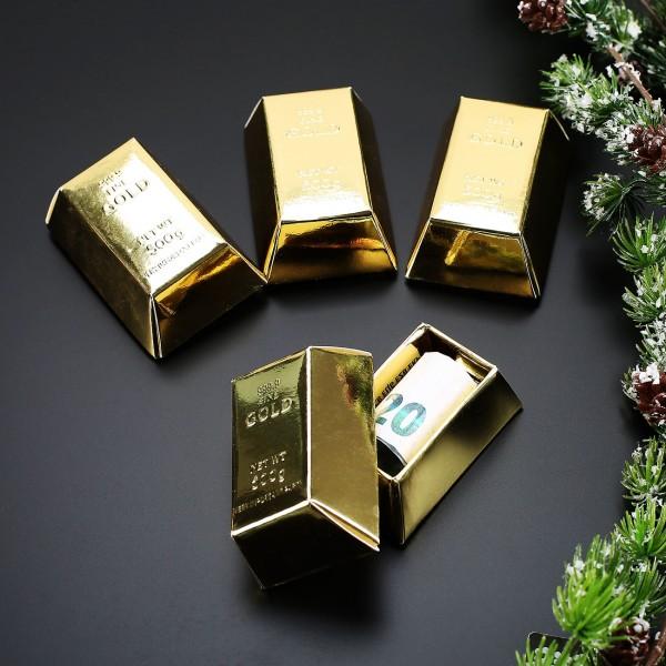 4 Mini Geschenkschachteln Goldbarren