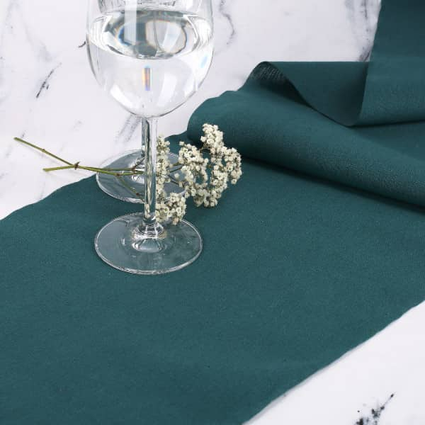 Tischläufer Pfauenblau aus Baumwolle