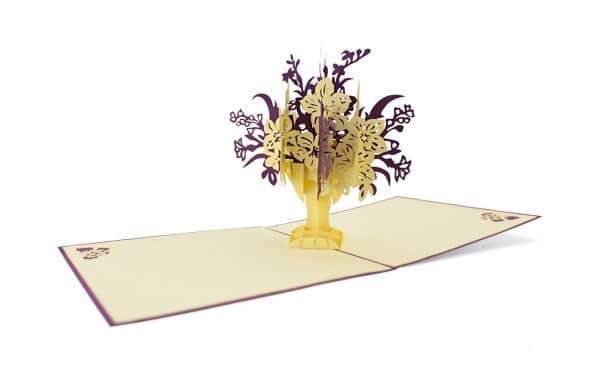 Pop Up Klappkarte Blumenstrauß lila weiß