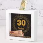 Bilderrahmen Spardose zum 30. Geburtstag mit Name, 15x15cm