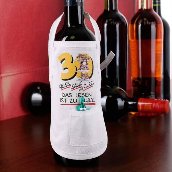 Friss, Sauf und Furz Flaschenschürze zum 30. Geburtstag