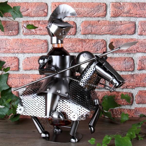 Flaschenhalter aus Metall Ritter mit Pferd