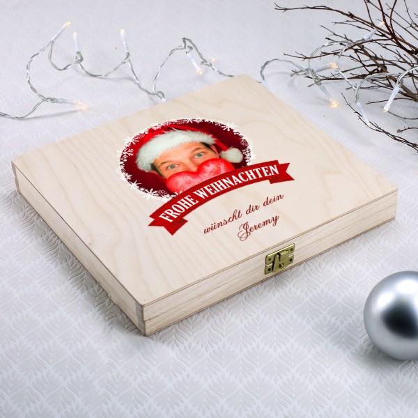 Geschenkverpackung mit Foto und Wunschtext zu Weihnachten