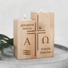 Osterkerze - Teelichthalter aus Holz mit Alpha & Omega - 2er Set