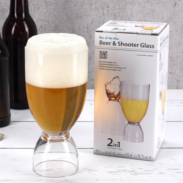 2 in 1 Glas für Bier und Schnaps