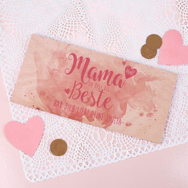 """Holzkarte """"Mama du bist die Beste"""" mit Ihrem Wunschtext"""