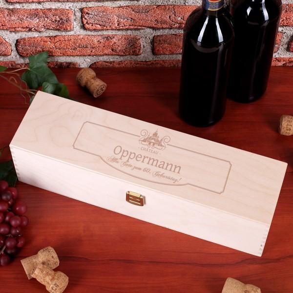 Holzverpackung mit Gravur