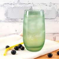 Leonardo Trinkglas in vier Farben mit tropischen Blüten und Name