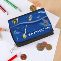 Kinder-Geldbörse für Jungen mit Name und Weltall-Motiv