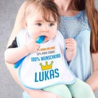 Lätzchen für Jungen - 100% Wunschkind mit Namen der Eltern und des Kindes