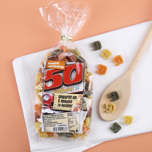 Nudeln in Zahlenform zum 50. Geburtstag