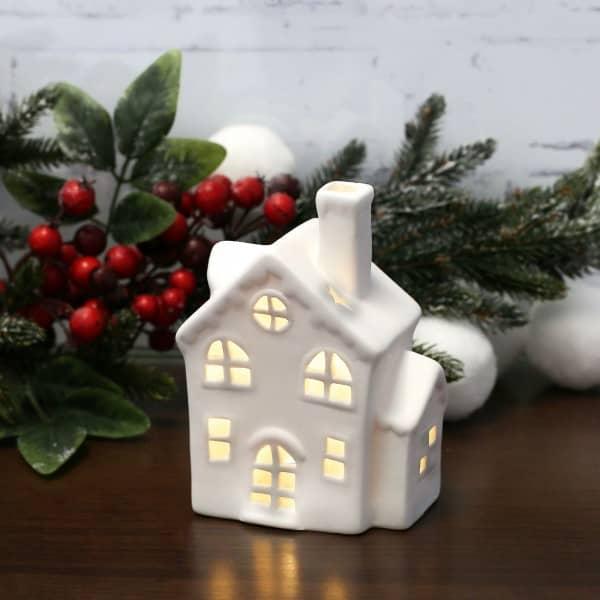 LED Weihnachtsmannhaus aus Keramik
