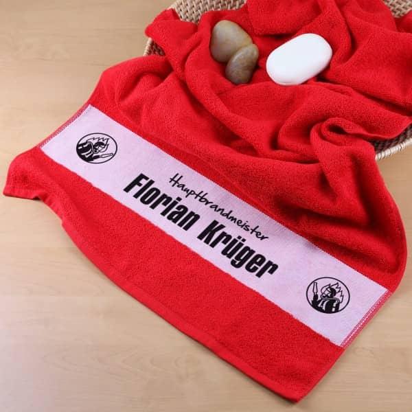 Handtuch mit Namen für Feuerwehrmänner