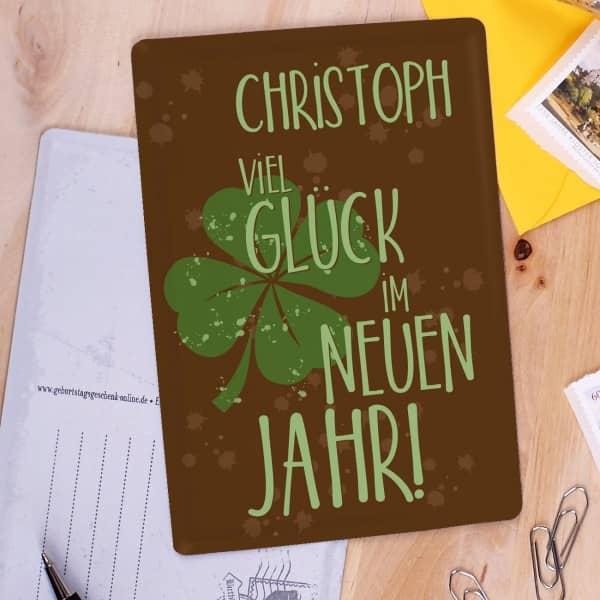 Blechpostkarte mit Namensaufdruck für Neujahrsgrüße