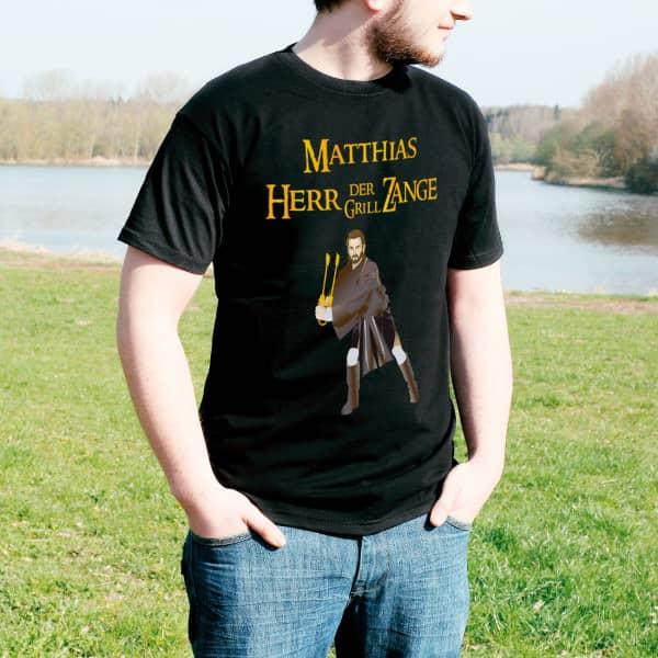 Schwarzes T-Shirt Herr der Grillzange