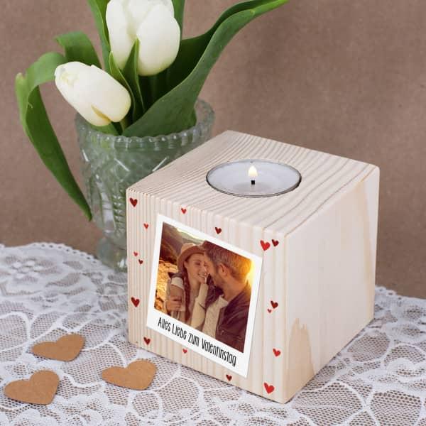 Nützlichdekoration - Teelichthalter aus Holz mit Foto zum Valentinstag - Onlineshop Geschenke online.de