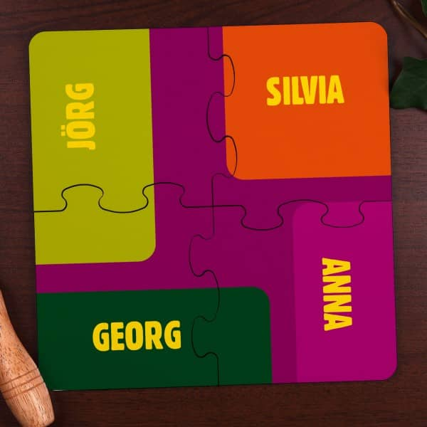 Puzzle als Untersetzer mit Namen