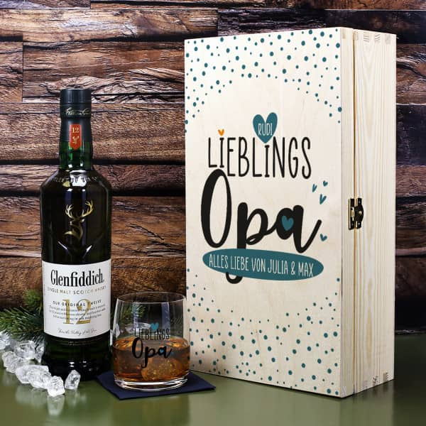 Lieblingsopa - Glenfiddich Whisky Geschenkset mit Whiskyglas in Holzbox
