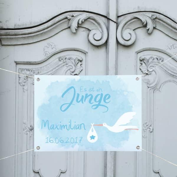 - Banner zur Geburt in hellblau mit Storch Motiv - Onlineshop Geschenke online.de