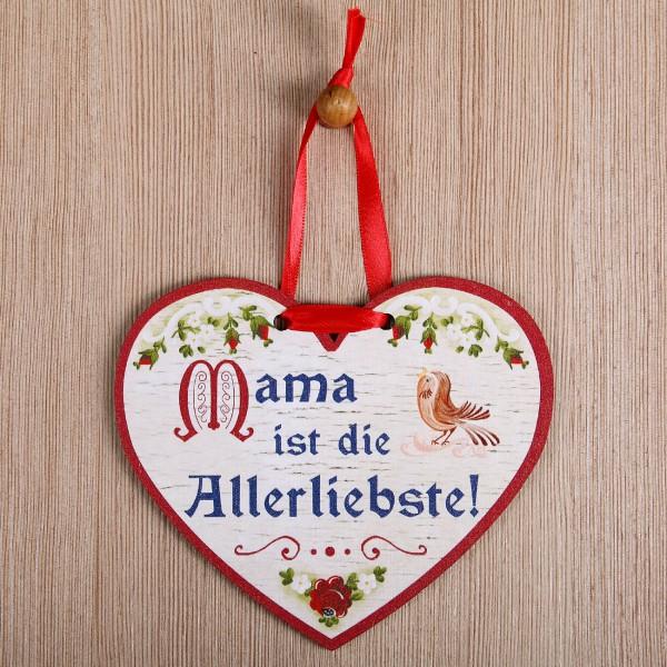 Holzherz - Mama ist die Allerliebste