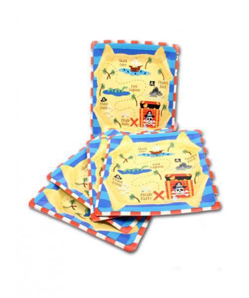 8 Quadratische Pappteller für Piratenparty