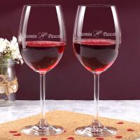 2 gravierte Weingläser mit Herz und Rosen zur Hochzeit