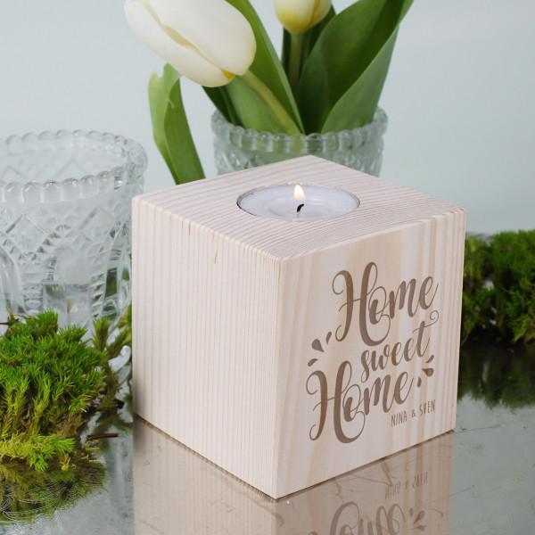 Home Sweet Home Teelichthalter mit Gravur