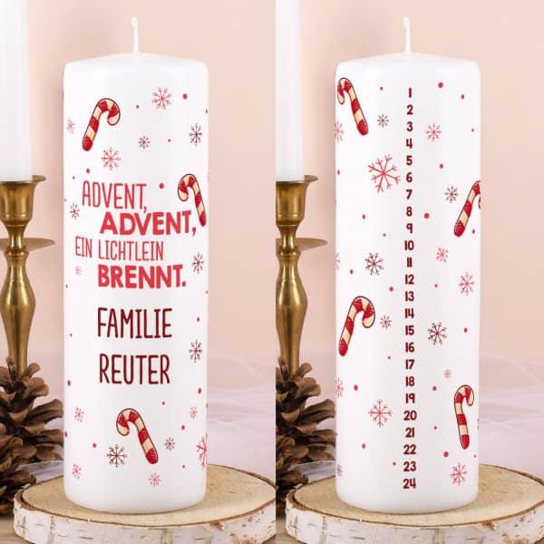 Adventskalender Kerze mit Zuckerstangen und Wunschtext