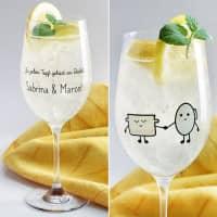 Topf und Deckel Weinglas mit Namensaufdruck für Verliebte