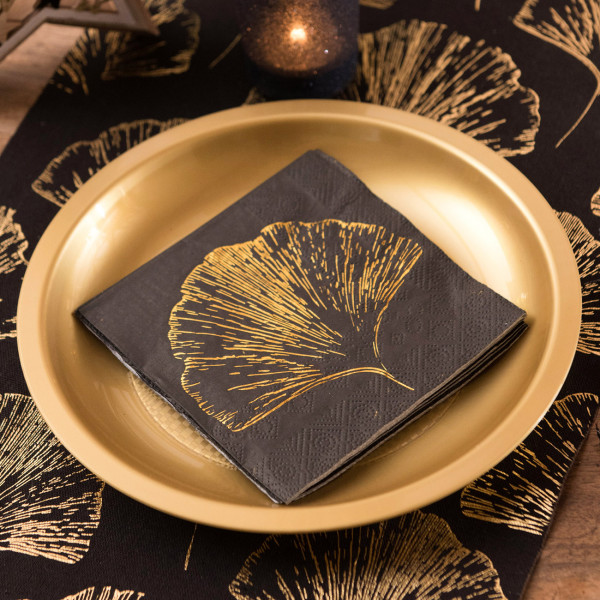 Schwarze Servietten - Blatt in Gold-Metallic